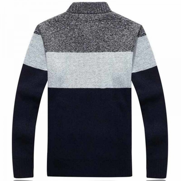 Men Fashion Style Thick Sweater Stand Collar Spliced Color Thin Wool Warm Late Autumn Cardigan Plus Size M 3XL Extra Image 4
