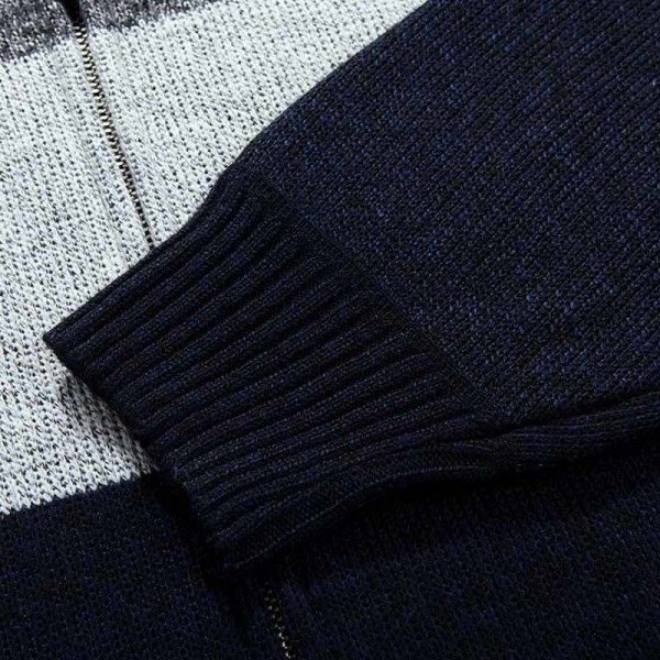 Men Fashion Style Thick Sweater Stand Collar Spliced Color Thin Wool Warm Late Autumn Cardigan Plus Size M 3XL Extra Image 5