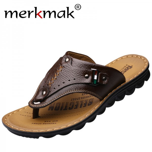 Men Flip Flops Genuine Leather Slippers Summer Fashion Beach Sandals Casual Leisure Shoes for Man Soft Comfortable Extra Image 3