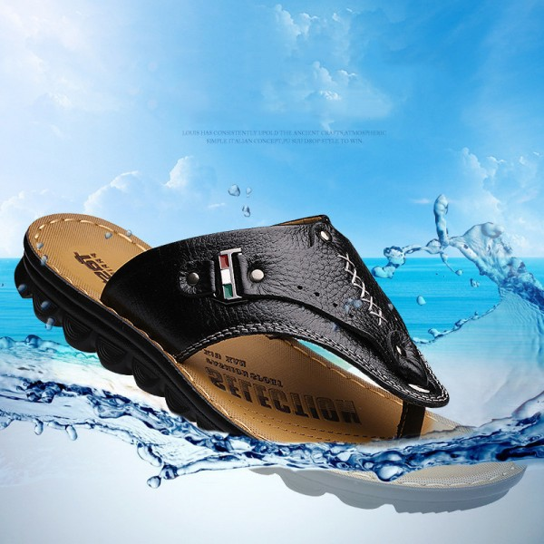 Men Flip Flops Genuine Leather Slippers Summer Fashion Beach Sandals Casual Leisure Shoes for Man Soft Comfortable Extra Image 5