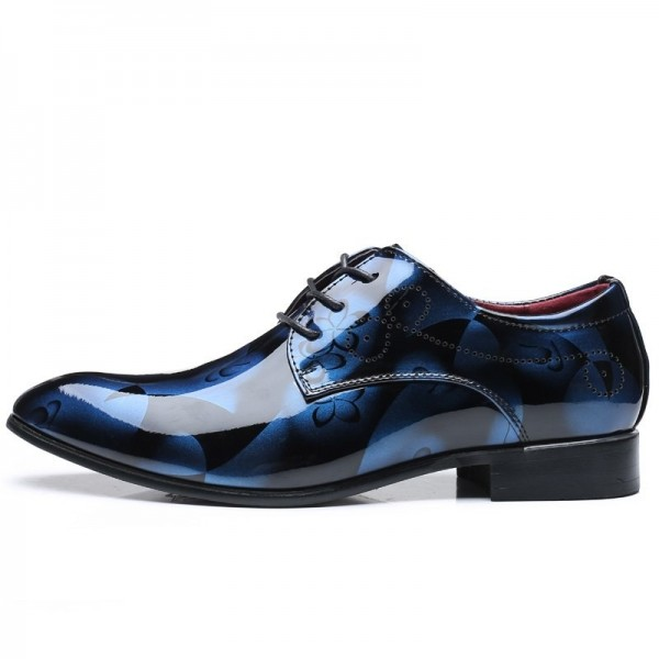 Men Formal Shoes Men Dress Shoes Floral Pattern Leather Oxfords Luxury Fashion Groom Wedding Shoes For Men Extra Image 1