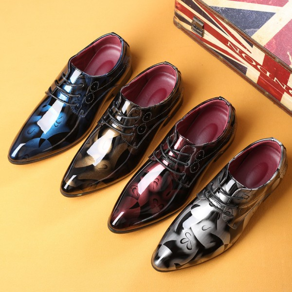 Men Formal Shoes Men Dress Shoes Floral Pattern Leather Oxfords Luxury Fashion Groom Wedding Shoes For Men Extra Image 3