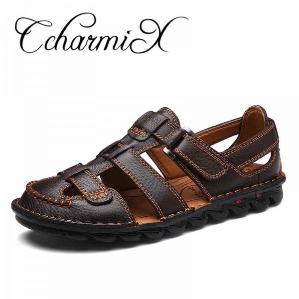 Men Genuine Leather Slides Sandals Gladiator Lightweight Summer Slip Resistant Minimalist Business Sandals Plus Size Extra Image 1