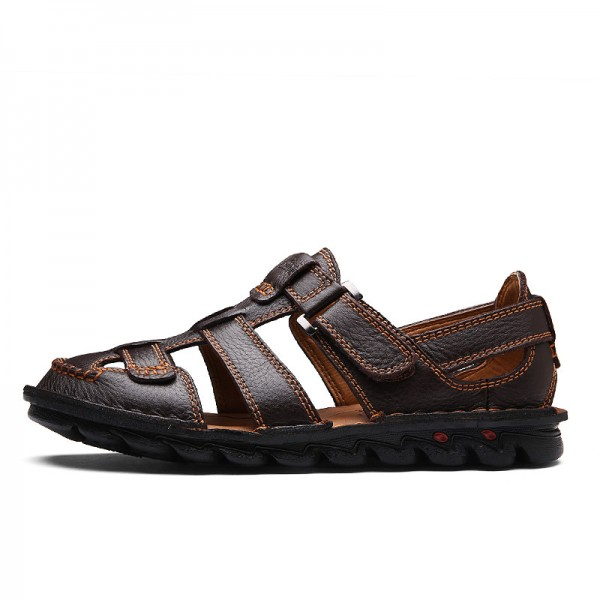 Men Genuine Leather Slides Sandals Gladiator Lightweight Summer Slip Resistant Minimalist Business Sandals Plus Size Extra Image 2