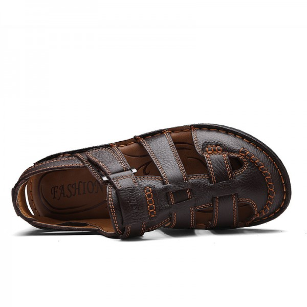 Men Genuine Leather Slides Sandals Gladiator Lightweight Summer Slip Resistant Minimalist Business Sandals Plus Size Extra Image 3