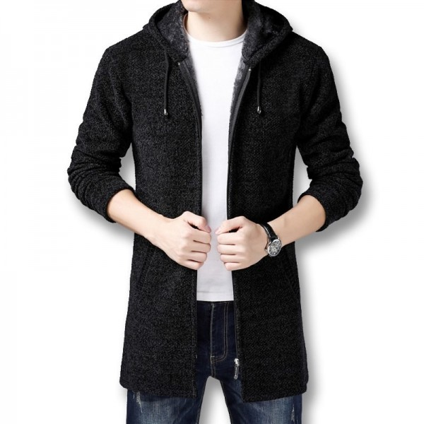 Men Hooded Zip Sweater Jackets Coats Knitwear Male Casual Fashion Slim Fit Winter Thick Fleece Knitted Sweaters Extra Image 2