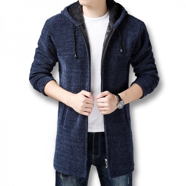 Men Hooded Zip Sweater Jackets Coats Knitwear Male Casual Fashion Slim Fit Winter Thick Fleece Knitted Sweaters Extra Image 4