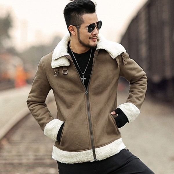 Men new winter brown Lambs woolen faux fur jacket man warm thick European style motorcycle bikers jacket coat Extra Image 2