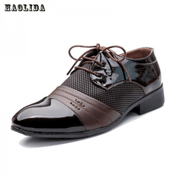 Men Office Business Patent Dress Oxfords Shoes Luxury Brand Pointed Toe Leather Shoes For Male Comfortable Loafers