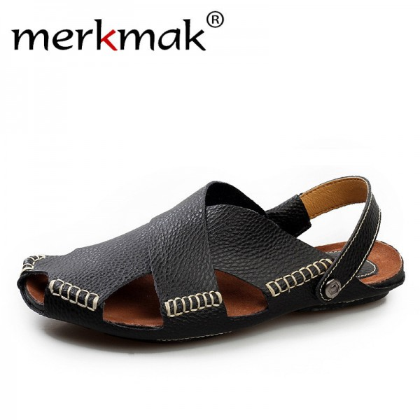Hochwertig ... Men Sandals Genuine Leather Mens Dress Sandals 2018 Summer Breathable Mens  Beach Shoes Flip Flops Male ...