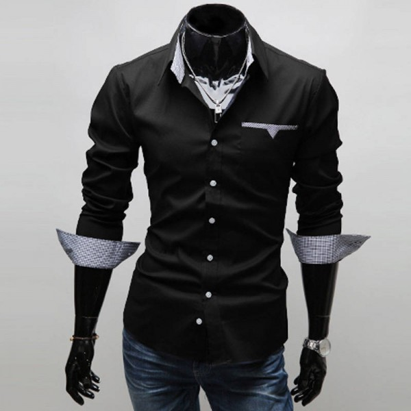 Men Shirt Long Sleeve Casual Office Wear Camisa Hombre Single Brested Men Thumbnail