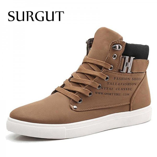 Men Shoes 2018 Top Fashion New Winter Front Lace Up Casual Ankle Boots Autumn Shoes Men Wedge Fur Warm Leather Footwear