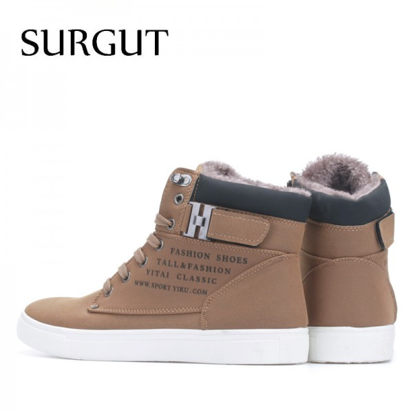 Men Shoes 2018 Top Fashion New Winter Front Lace Up Casual Ankle Boots Autumn Shoes Men Wedge Fur Warm Leather Footwear Extra Image 2