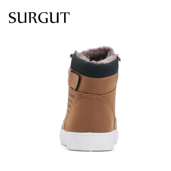 Men Shoes 2018 Top Fashion New Winter Front Lace Up Casual Ankle Boots Autumn Shoes Men Wedge Fur Warm Leather Footwear Extra Image 4