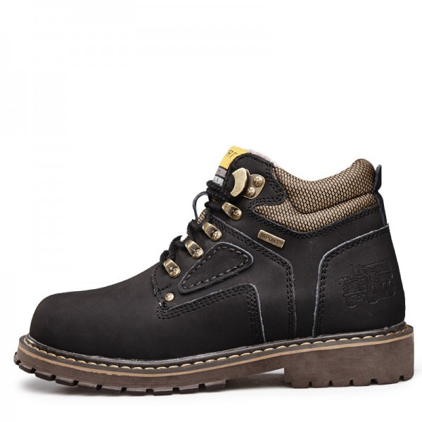 Men Shoes Autumn Winter Warm Fur Tooling Shoes Size 38 44 Fashion Casual Cow Leather Boots Lace Up Ankle Boots Extra Image 4
