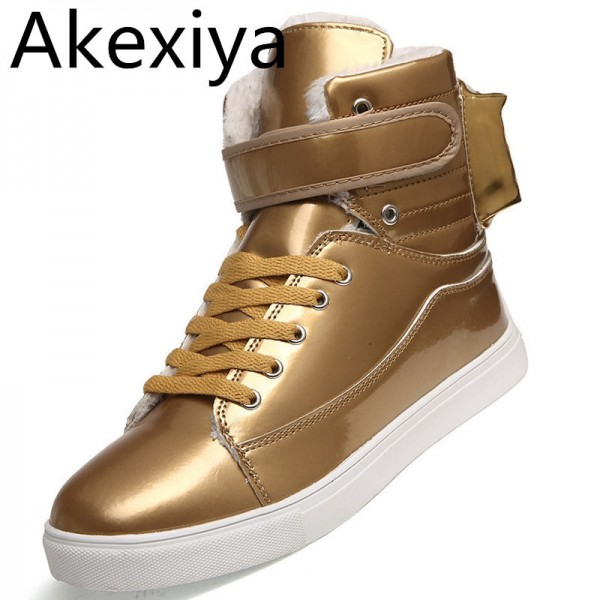Men Shoes Golden High Top Mens Casual Shoes British Gold And Silver Winter Shoes Men Big Yards Boots Students Shoes Extra Image 1