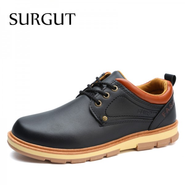 Men Shoes New Spring and Autumn Casual Fashion Safety Oxfords Breathable Flat Footwear Pu Leather Waterproof Shoes Men Extra Image 1