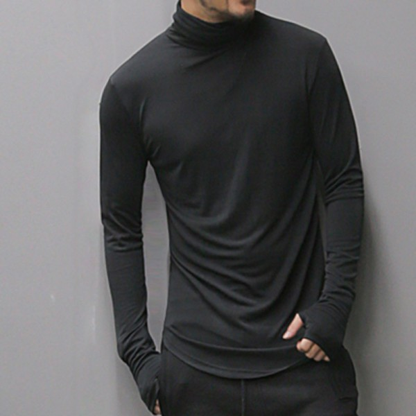 Men slim long sleeve cotton turtleneck bottoming t shirt men new autumn fashion European style solid casual