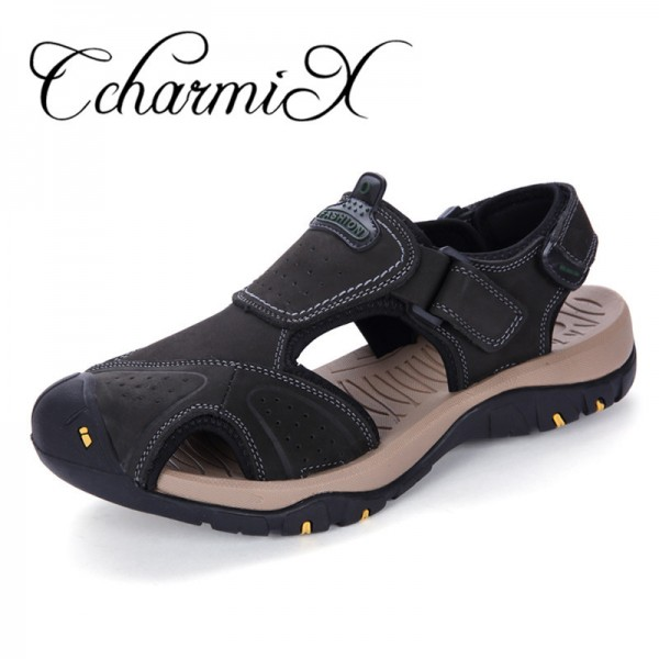 Men Summer Slide Sandals 2018 High Quality Beach Sandals Mens Italian Genuine Leather Sandals Mens Shoes Large Sizes