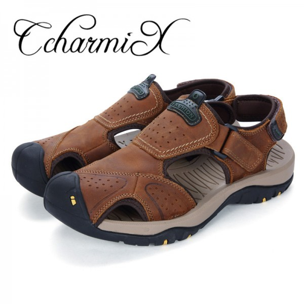 Men Summer Slide Sandals 2018 High Quality Beach Sandals Mens Italian Genuine Leather Sandals Mens Shoes Large Sizes Extra Image 4