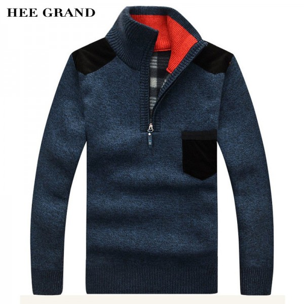 Men Sweaters New Arrival Autumn Winter Casual Stand Collar Thick Zipper Pullover M 3XL Size 7 Colors Male Sweaters Extra Image 1