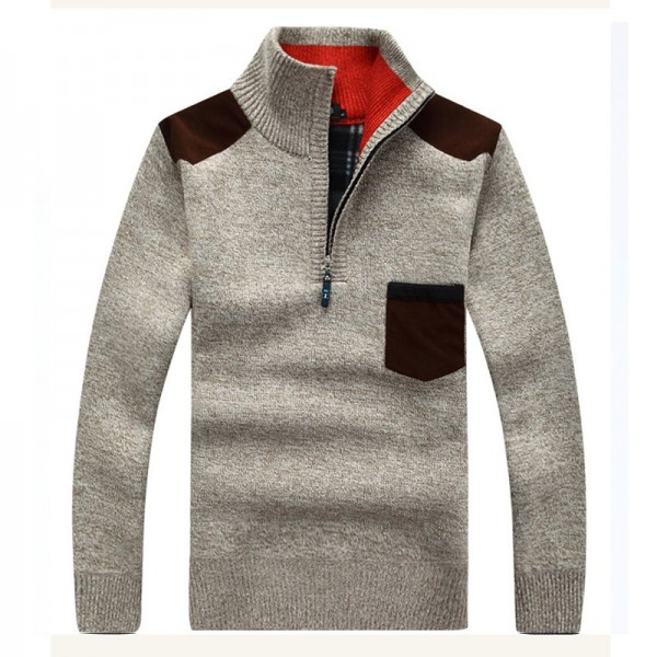 Men Sweaters New Arrival Autumn Winter Casual Stand Collar Thick Zipper Pullover M 3XL Size 7 Colors Male Sweaters Extra Image 2