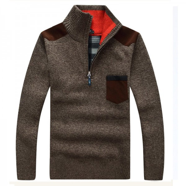 Men Sweaters New Arrival Autumn Winter Casual Stand Collar Thick Zipper Pullover M 3XL Size 7 Colors Male Sweaters