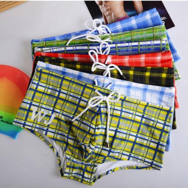 Men Swimwear Briefs New Plaid Swim Boxer Shorts Trunks Swimming Brief Surf Board Wear Mens Gay Beach Short Extra Image 6
