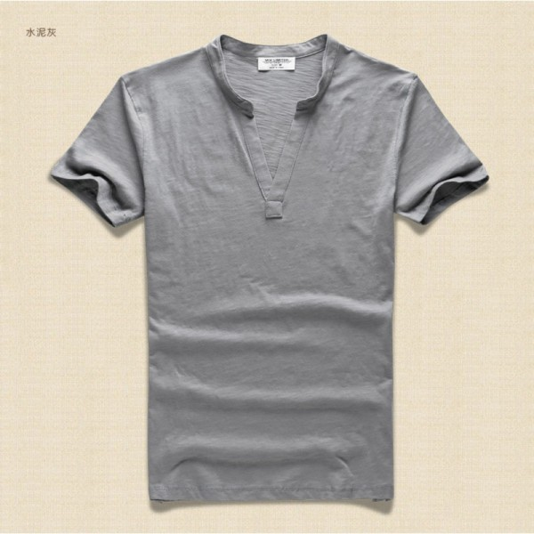 Men T Shirt Solid Tops Tees Short Sleeve T Shirt Mens Brand Fashion V Neck Cotton Mens T Shirt Paul Shirt 2018 Extra Image 4