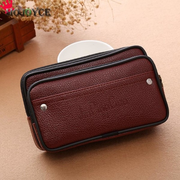 Men Waist Pack Bags PU Leather Casual Small Belt Wallets Phone Holder Belt Money Pack Wallet Purse Extra Image 5