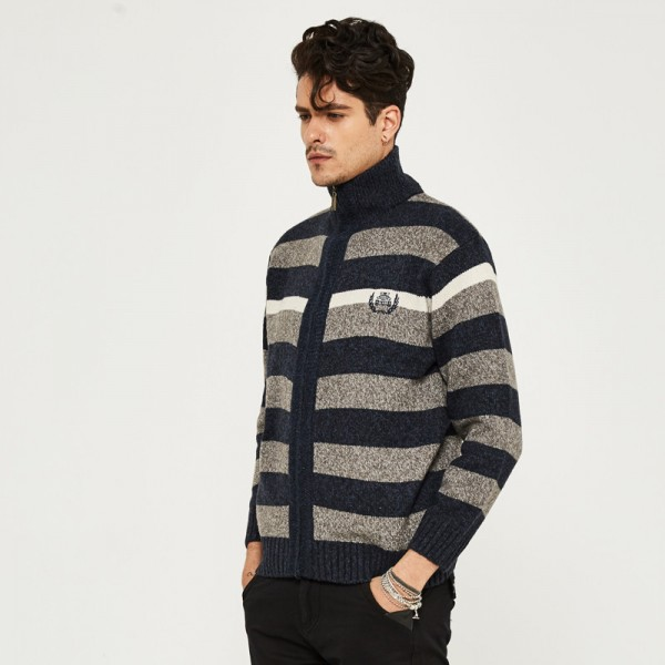 Men Warm Sweat Autumn Zipper Cardigan Striped Men Stand Collar Fashion Style Plus Size M 3XL High Quality Sweaters Extra Image 4