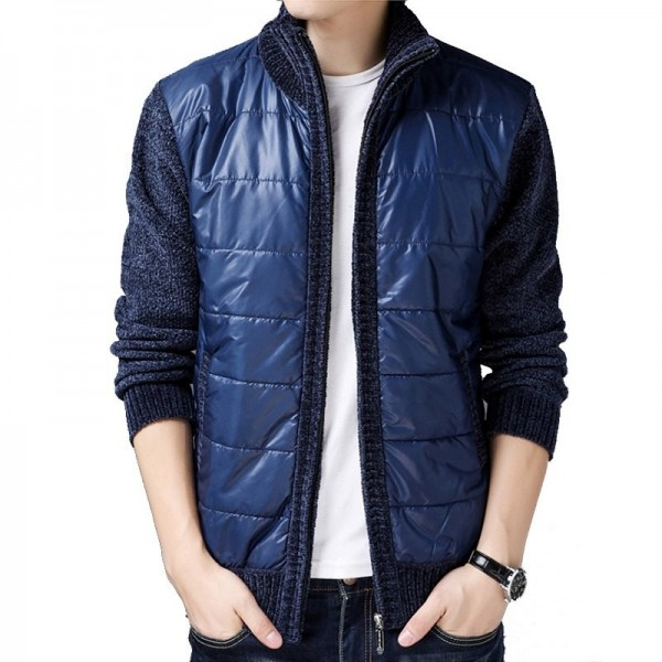 Men Winter Autumn Spring Thick Fleece Jackets and Coats Cardigans Casual Fashion Slim Fit Large Size Patchwork Jackets