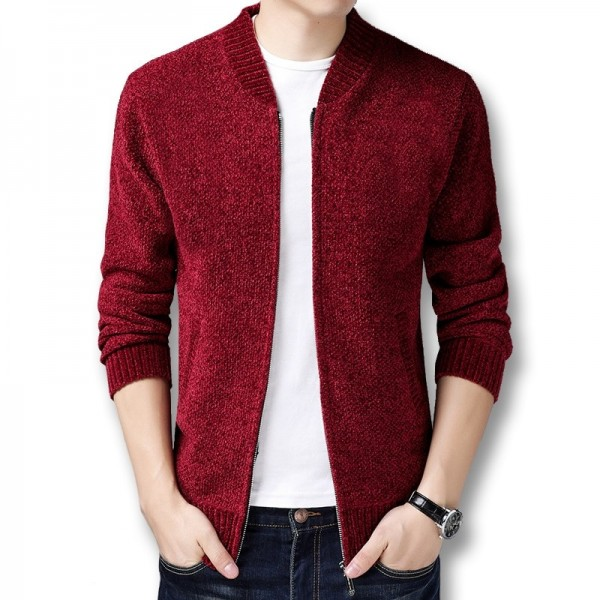 Men Winter Autumn Thick Fleece Sweater Jackets Cardigans Knitwear Male Casual Fashion Slim Fit Large Size Sweater Extra Image 1