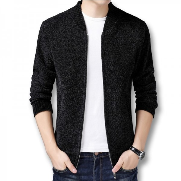 Men Winter Autumn Thick Fleece Sweater Jackets Cardigans Knitwear Male Casual Fashion Slim Fit Large Size Sweater Extra Image 3