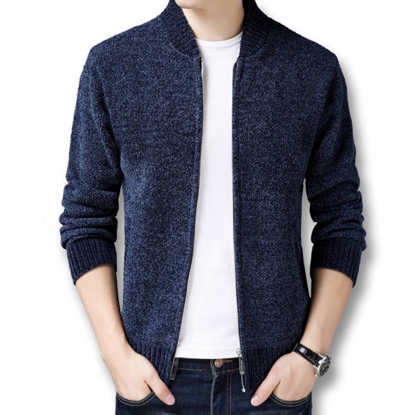 Men Winter Autumn Thick Fleece Sweater Jackets Cardigans Knitwear Male Casual Fashion Slim Fit Large Size Sweater Extra Image 4