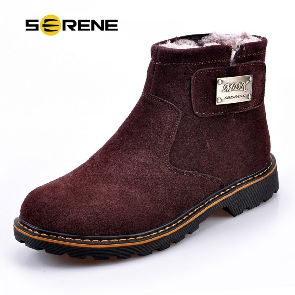 Mens Boots High Quality Male Shoes Suede Leather Drive Shoe Warm Fur Winter Casual Snow Bot Man Mens Ankle Boots Extra Image 1