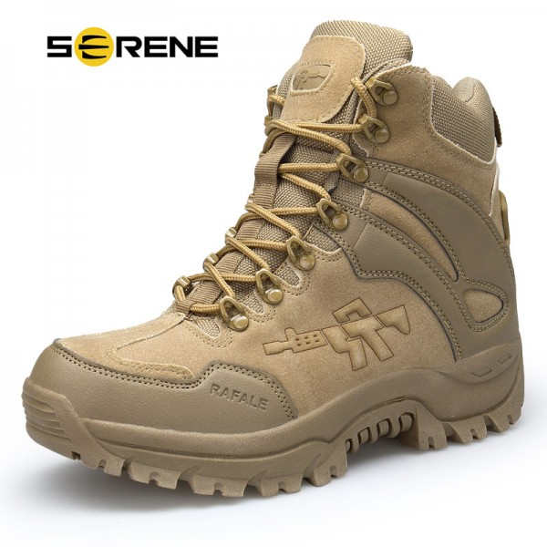 Mens Boots Military boot Combat Mens Chukka Ankle Bot Tactical Big Size Army Bot Male Shoes Safety Motorcycle Boots Extra Image 1