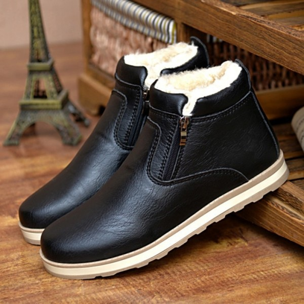Mens Boots Winter Ankle Fashion Classic Cotton Padded Shoes Plush Warm Man Snow Boots Hot Sale Quality Leather Shoes Extra Image 1