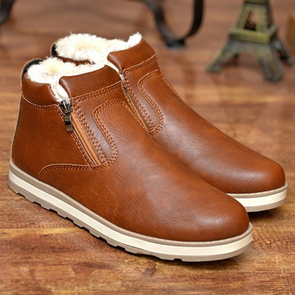 Mens Boots Winter Ankle Fashion Classic Cotton Padded Shoes Plush Warm Man Snow Boots Hot Sale Quality Leather Shoes Extra Image 2