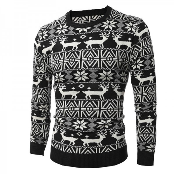 Mens Christmas Sweater Deer Printed Sweater For Men Pullovers Oversized Sweaters Knitted Cardigan For Winter Extra Image 3