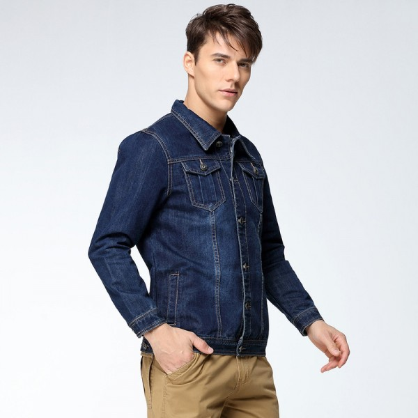 Mens Denim Jacket Coat Single Breasted Loose Fit Wash Detail Big Men Large Size Turn Down Collar Jeans Jackets