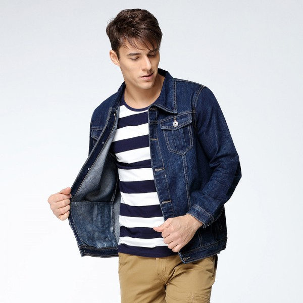 Mens Denim Jacket Coat Single Breasted Loose Fit Wash Detail Big Men Large Size Turn Down Collar Jeans Jackets Extra Image 6