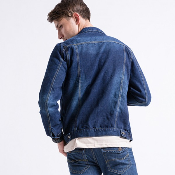 Mens Denim Jacket Light Washed Non Elastic Jeans Jacket Wide Waisted Coat  Large Size Autumn Winter Male Outwear Extra Image 4