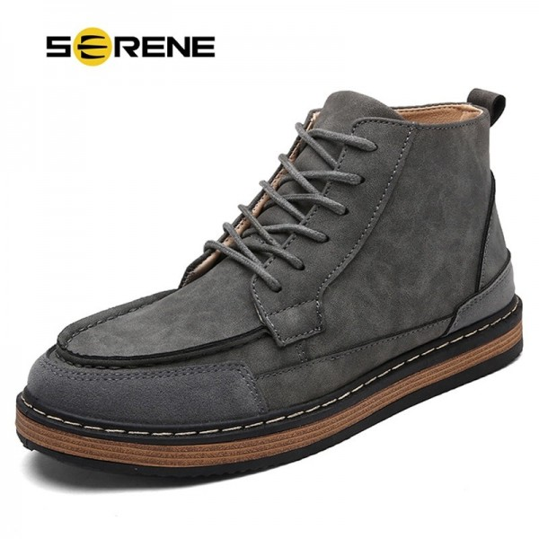Mens Fashion Boots Work Safety Boots Tooling Boots Casual Leather Lace Up Ankle Boots 3 Color Male Shoes Extra Image 1