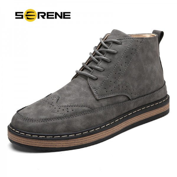 Mens Fashion Boots Work Safety Boots Tooling Boots Casual Leather Lace Up Ankle Boots 3 Color Retro Shoes Footwear Extra Image 1