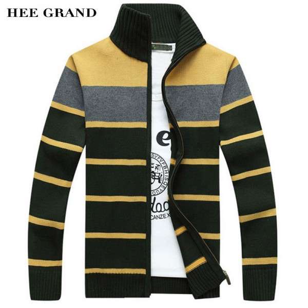 Mens Fashion Style Sweater Cardigan 2018 New Arrival Full Sleeve Striped Stand Collar Autumn Overcoat Pullovers For Men Extra Image 1