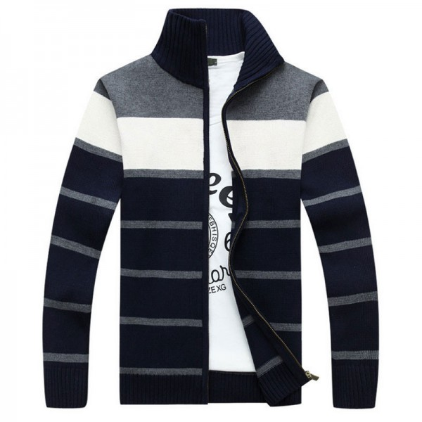 Mens Fashion Style Sweater Cardigan 2018 New Arrival Full Sleeve Striped Stand Collar Autumn Overcoat Pullovers For Men Extra Image 3