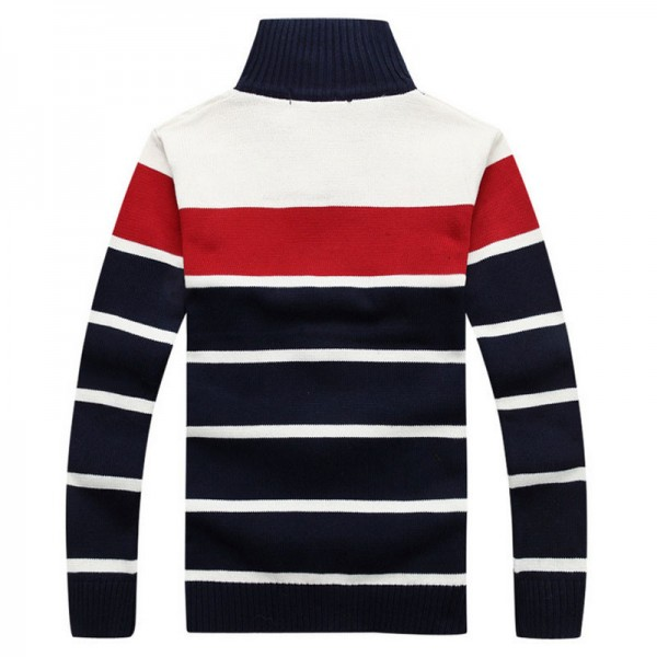 Mens Fashion Style Sweater Cardigan 2018 New Arrival Full Sleeve Striped Stand Collar Autumn Overcoat Pullovers For Men Extra Image 5