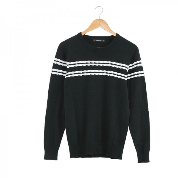 Mens Knitted Sweater Patterns Striped thick Pullover Sweaters Winter casual Round neck Cotton Sweater Cardigan Extra Image 4