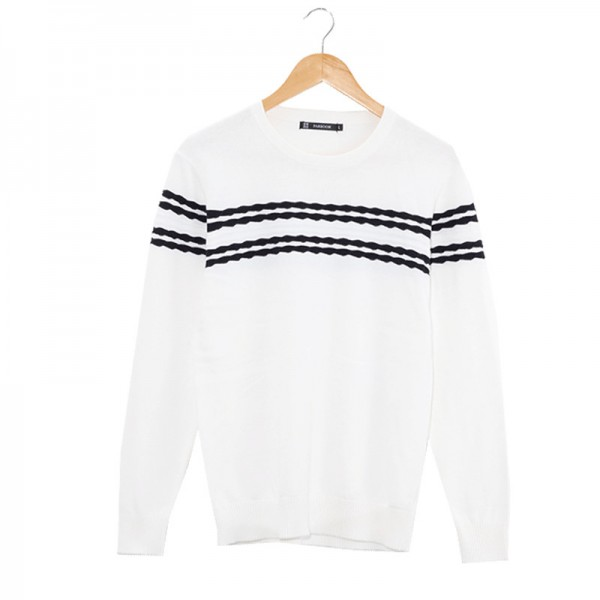 Mens Knitted Sweater Patterns Striped thick Pullover Sweaters Winter casual Round neck Cotton Sweater Cardigan Extra Image 5